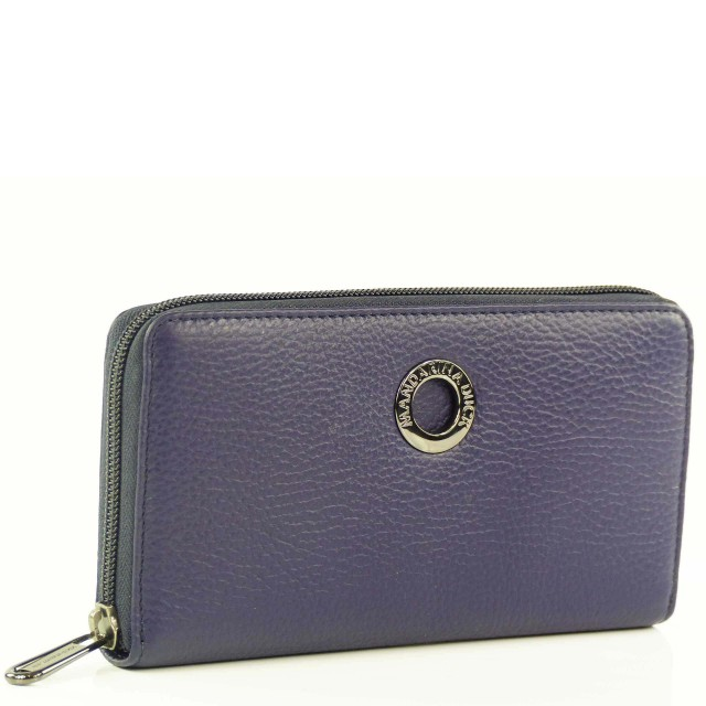 Mandarina Duck Mellow Leather Zip Around Wallet Blau