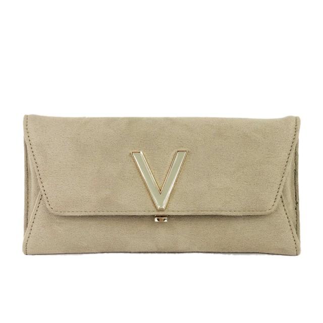 Valentino Flash Suede Taupe Geldbörse Beige VBS2QI02
