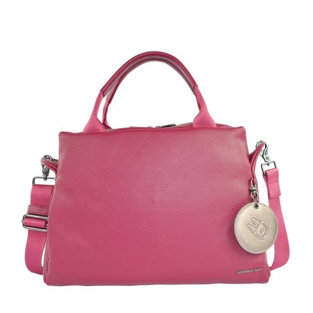 Mandarina Duck Mellow Leather Boston Bag Red Plum FZT8722T