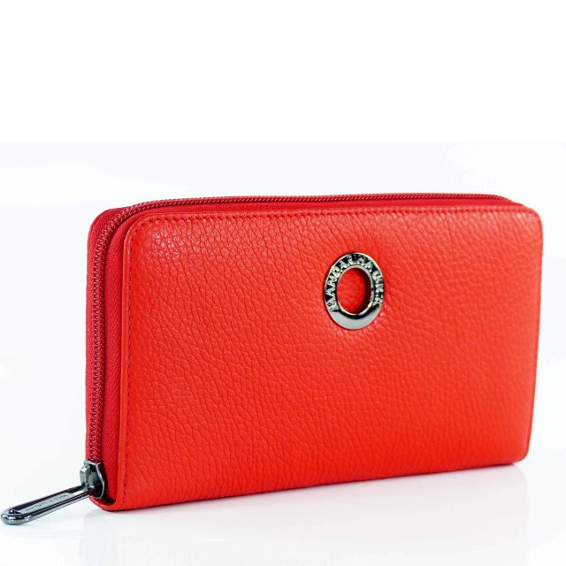 Mandarina Duck Mellow Leather Zip Around Wallet Rot