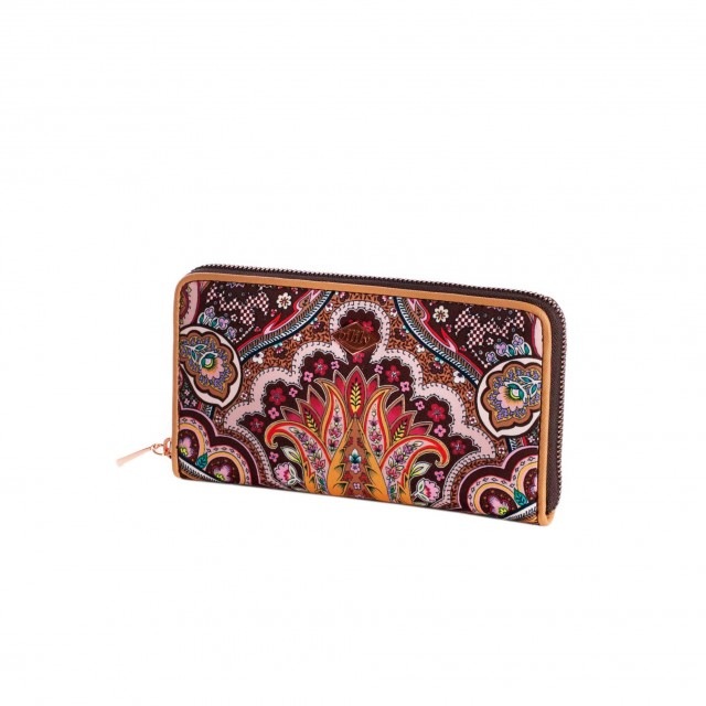 Oilily Paisley L Zip Wallet Coffee