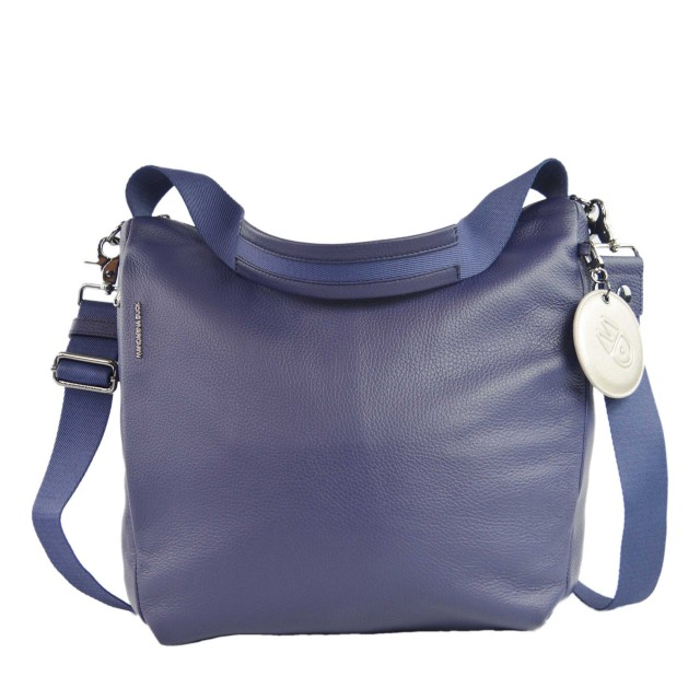 Mandarina Duck Mellow Leather Hobo Bag Umhängetasche Dress Blue FZT9508Q