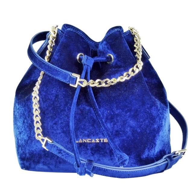 Lancaster Velvet Small Bucket Bag Blau