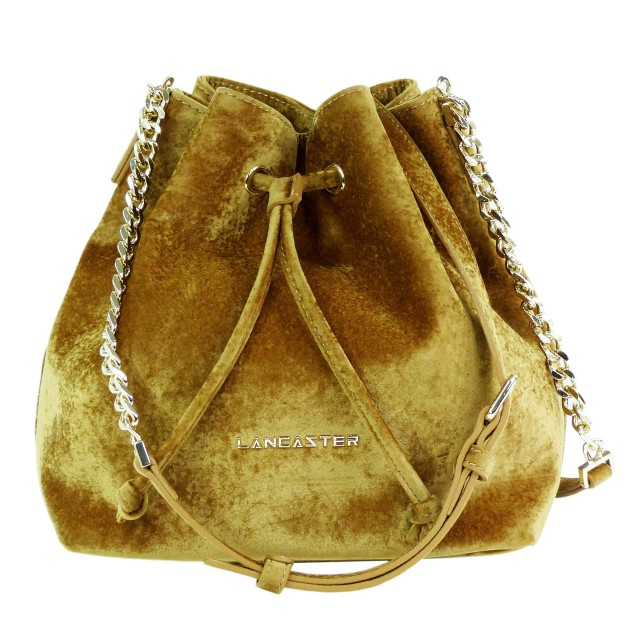 Lancaster Velvet Small Bucket Bag Gold