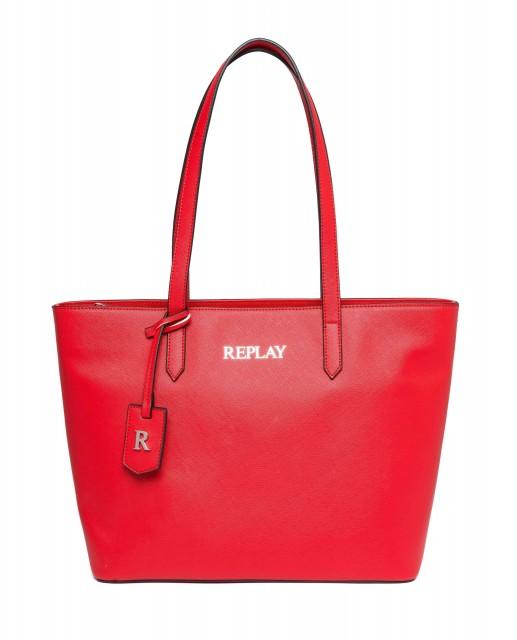 REPLAY Damen Shopper FW3074 Saffiano Kunstleder Rot