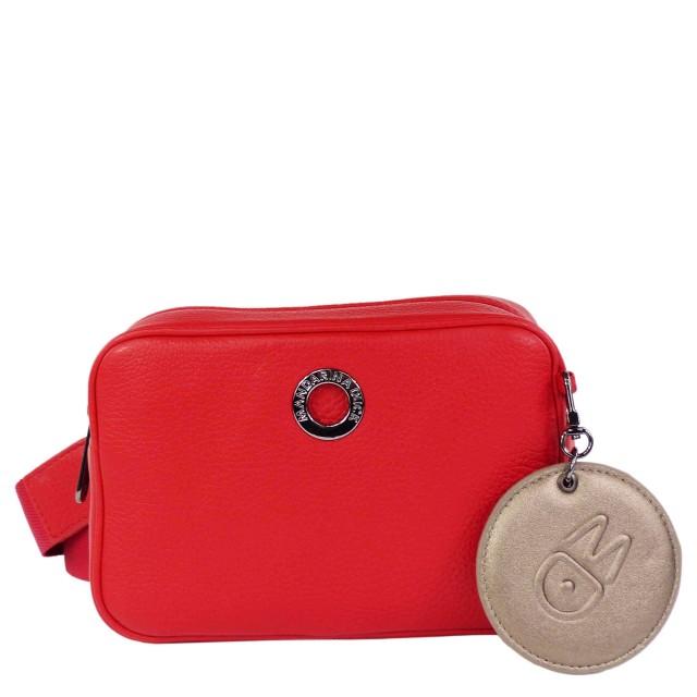 Mandarina Duck Mellow Leather Tracolla Camera Bag Flame Scarlet
