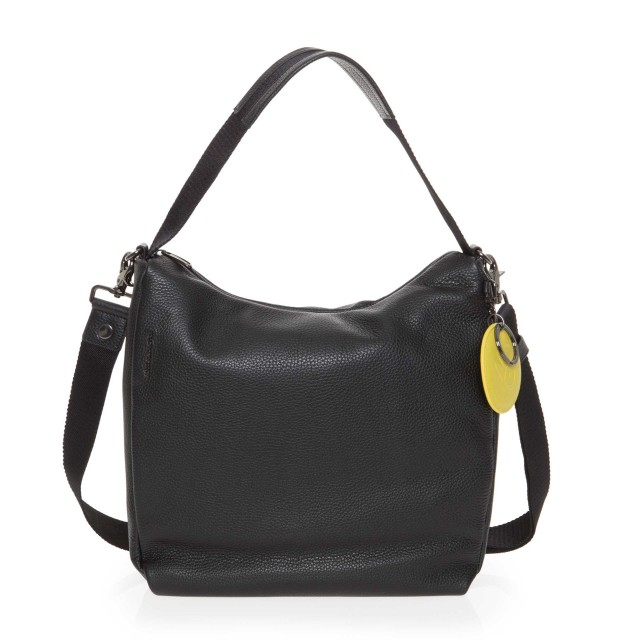Mandarina Duck Mellow Leather Hobo Bag Umhängetasche Nero FZT95001