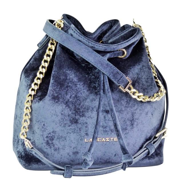 Lancaster Velvet Small Bucket Bag Dunkelblau