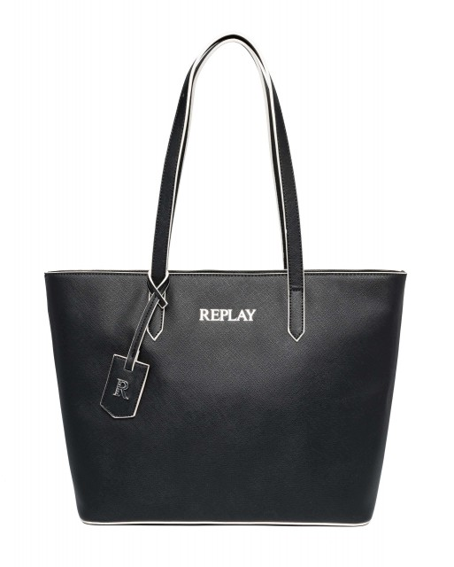 REPLAY Damen Shopper FW3074 Saffiano Kunstleder Schwarz